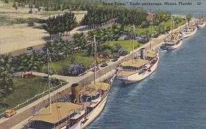 Florida Miami Downtown Yacht Anchoroage 1941