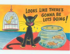 Linen Comic CAT EYES GOLDFISH AND BIRD AC0117