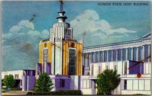 1933 Chicago World's Fair Postcard Illinois State Host Building Colortype