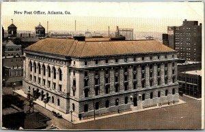 1910s Atlanta, Georgia Postcard New Post Office Building Street View CURTEICH