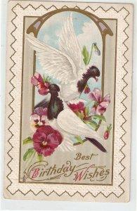 Doves in flosers. Birthday Message Old vintage American Grteetings PC