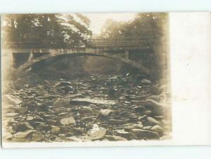 Old rppc BRIDGE SCENE Landscape Postcard AB2029