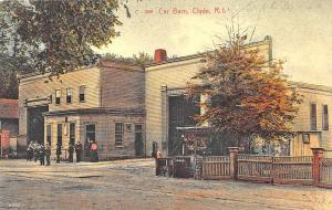 Clyde RI Trolley Car Barn Postcard