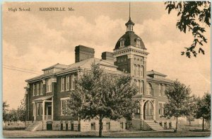 Kirksville, Missouri Postcard HIGH SCHOOL Building Front View Albertype 1910s