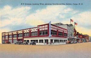 Fargo North Dakota Greyhound Bus Station NP Avenue Antique Postcard J62426