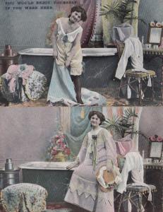 Get In My Bath Bathtub Washing With Sexy Lady 2x Risque Antique Postcard s