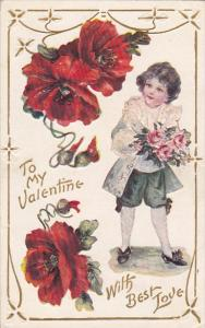 VALENTINE´S DAY; To My Valentine With Best Love, Boy with bouquet of roses...