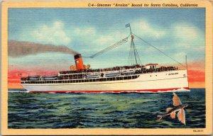 Vtg 1930s Steamer Avalon Bound For Santa Catalina California CA Unused Postcard