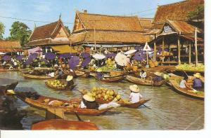 Postal 045715 : Floating Market only can be seen in Thailand