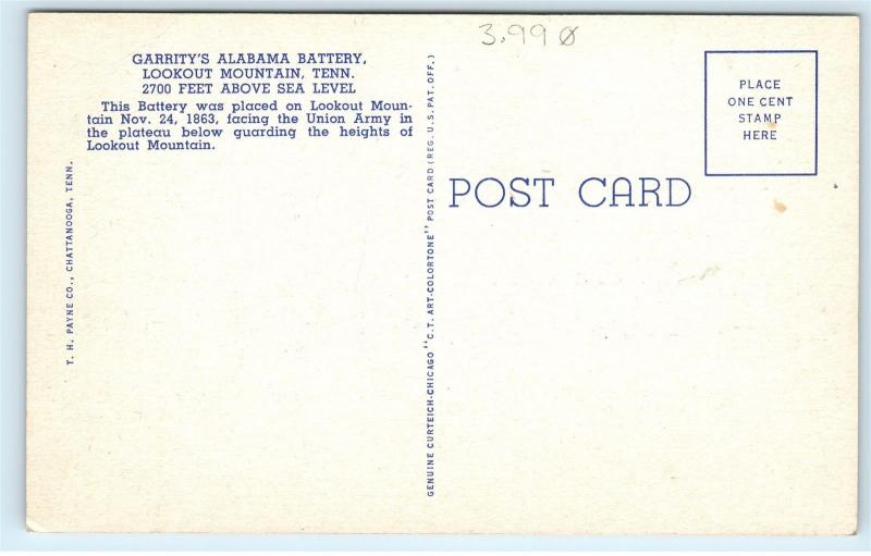 *Garrity's Alabama Battery Lookout Mountain Canons Linen Vintage Postcard B64