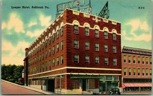 Ashland, Pennsylvania Postcard LOEPER HOTEL Street View Linen / 1951 Cancel