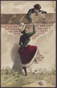 Man Talking to Woman Over Wall Postcard