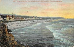 San Francisco California 1909 Postcard Ocean Beach Pavilion & Pier Cliff House