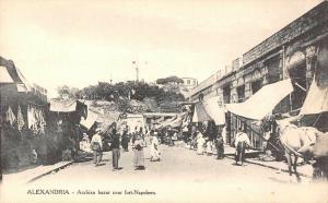 Alexandria Egypt Arabian Bazar near Fort Napoleon Antique Postcard (J34777)