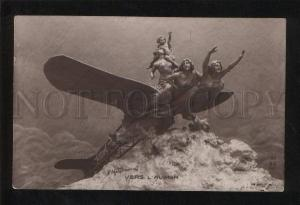 060853 Semi-Nude WITCHES on PLANE by MASTROIANNI vintage PC
