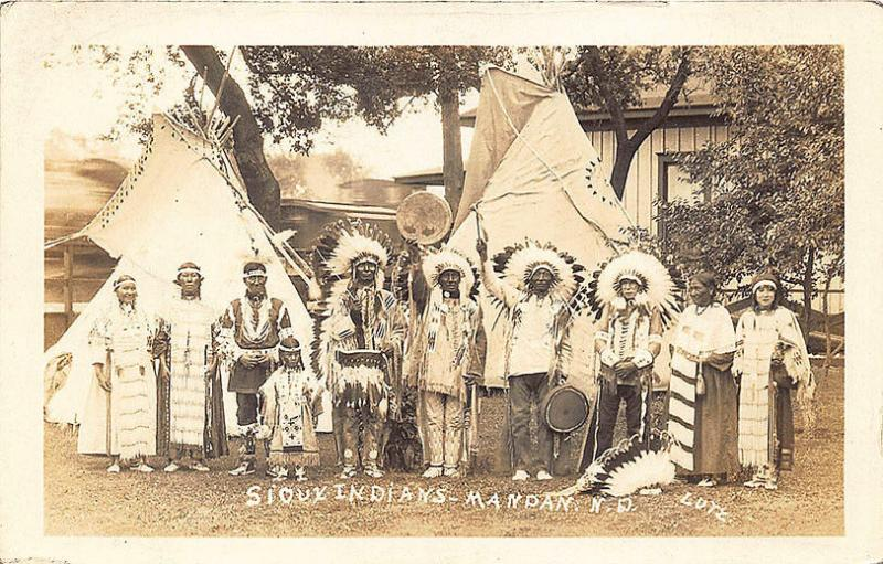 Sioux Indians Mandan ND Signed Lutz Real Photo RPPC Postcard