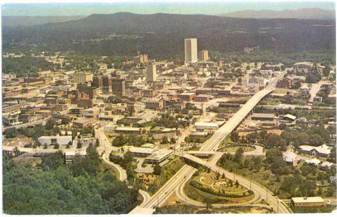 Air View of Business Section of Greenville South Carolina SC