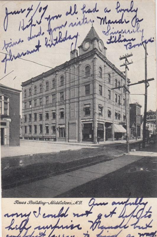 MIDDLETOWN , New York, 1907 ; Times Building (Newspaper)
