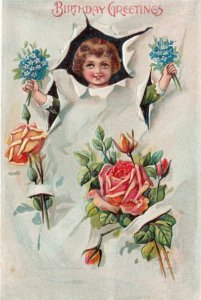 Child & roses , Birthday Greetings , 00-10s