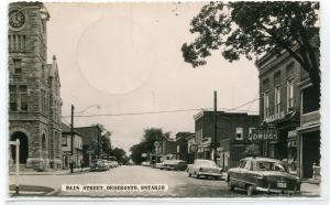 Main Street Cars Deseronto Ontario Canada 1956 RPPC real photo postcard