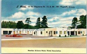 Flagstaff, Arizona Postcard L MOTEL Highway ROUTE 66 Roadside Linen 1953 Cancel