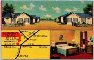 Springfield, Illinois Postcard HIGHWAY HOTEL Route 36 Roadside Map LINEN c1950s