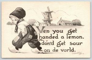 Bernhardt Wall Comic~Dutch Kid Wisdom: Ven Handed Lemon, Don't Get Sour on World