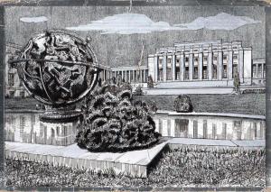 Switzerland Geneva United Nations Palace novelty silver postcard