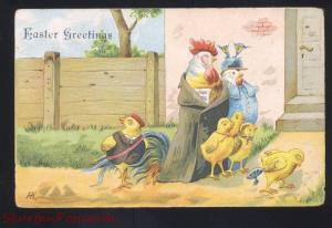 ANTIQUE VINTAGE EASTER POSTCARD DRESSED CHICKEN CHICKENS
