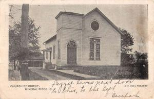 Mineral Ridge Ohio Church Of Christ Street View Antique Postcard K93078