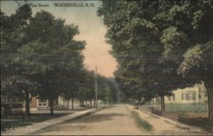 Woodsville NH Pine Street c1910 Postcard - Hand Colored