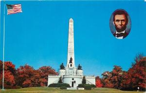 Springfield Illinois~Lincoln Monument~Inset of President 1950s Postcard