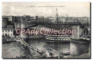 Postcard Old Brest closed Swing Bridge and Borda