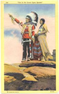 Indians in Costumes, Chief and Wife, 1953 Linen