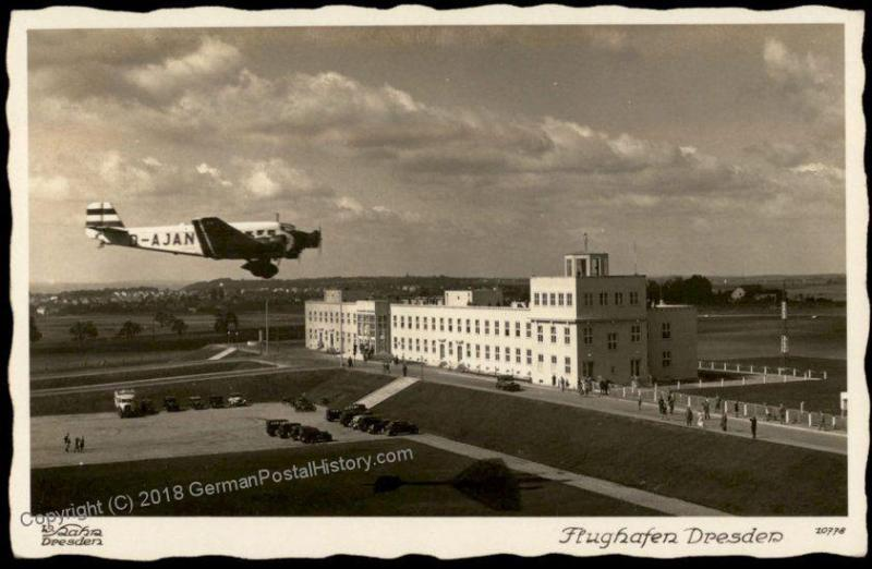 Germany Early Airport Plane Dresden Flughafen  RPPC 64175