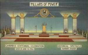 Cambridge MA Harvard Pillars of Power 1946 Centennial Celebration Linen PC