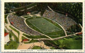 1940s UNIVERSITY OF GEORGIA Postcard Sanford Stadium Aerial View Linen Athens