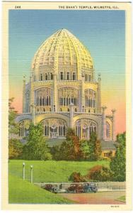 USA, The Bahai Temple, Wilmette, Illinois, unused linen Postcard
