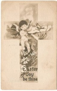 Sienna Cross with Cherub, Robbin and Daisies Vintage Postcard Easter Greeting