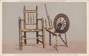 Massachusetts Plymouth Pilgrim Hall Governor Carver's Chair & Ancien...