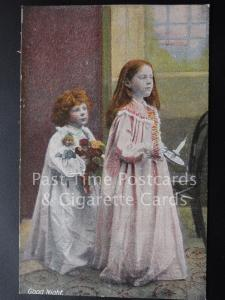 Old PC, 'Good NIght' showing Girl & Boy with candle by J.W.B. Series 301