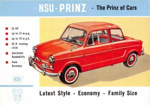 NSU PRINZ GERMAN AUTOMOBILE POSTCARD c1960s THE PRINZ OF CARS *NOT A REPRINT*