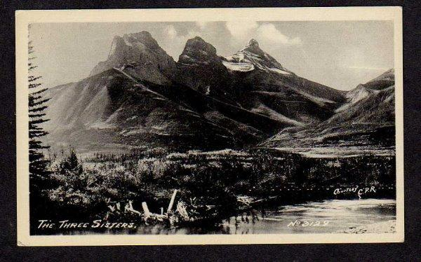 ALBERTA The Three Sisters Mountains nr Canmore Canada Postcard Carte Postale