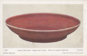 Red Copper Dish Hsuan Te Period Saucer Pottery Sculpture Primitive Art Postcard