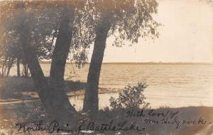 D40/ Battle Lake Michigan Mi Real Photo RPPC Postcard c1910 Shoreline
