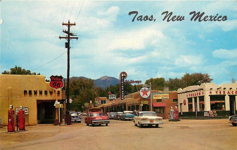 Vintage Chrome Postcard; Street Scene Taos NM Phillips 66 & Texaco Gas Stations