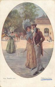 Artist postcard Aug. Mandlik - Flitterwochen ( Honeymoon couple lovers )
