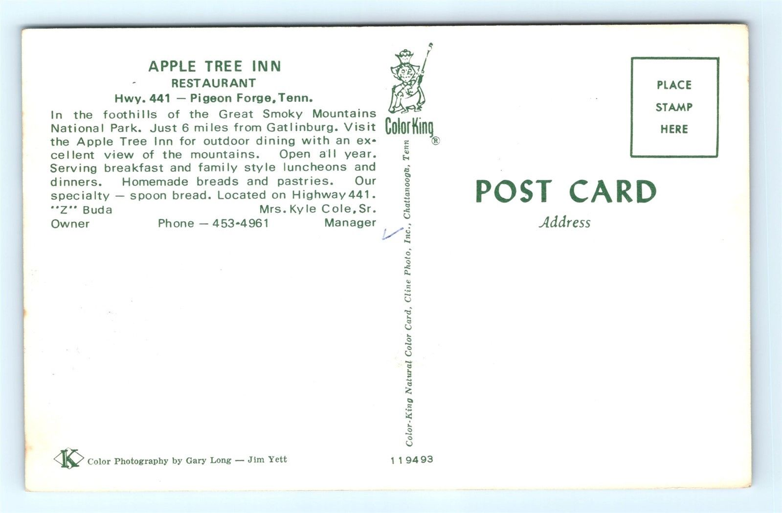 Postcard TN Pigeon Forge Apple Tree Inn Restaurant Vintage Cars L01 ...