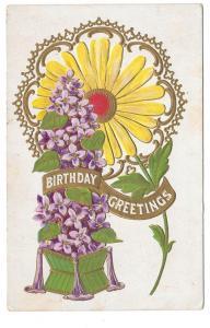 Birthday Greetings Sunflower Embossed Gilded Postcard