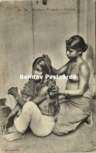 ceylon, Beautiful Native Nude Rhodiya Women, Topless (1910s)